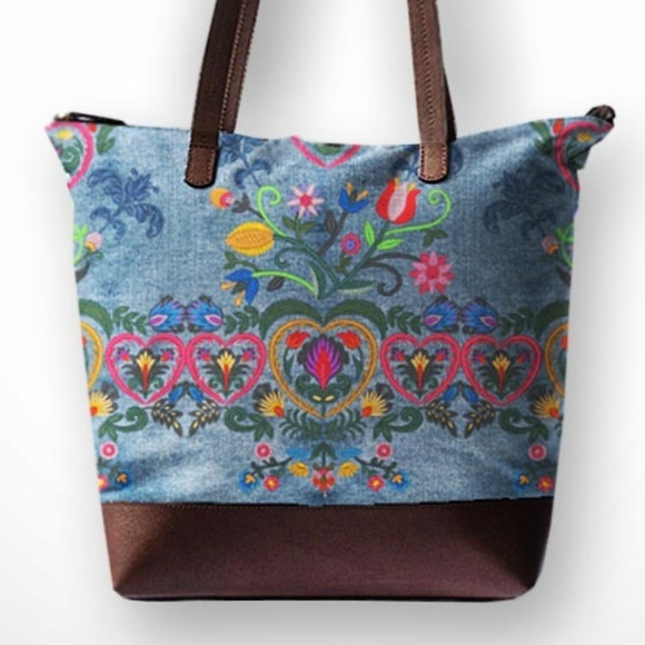 Steady Threads Studio Bags Swedish Embroidery Printed Denim